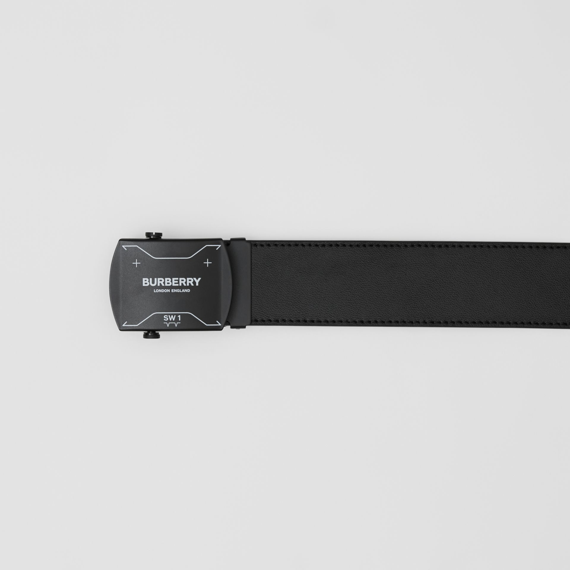 Symbol Print Plaque Buckle Leather Belt in Black - Men | Burberry - gallery image 1