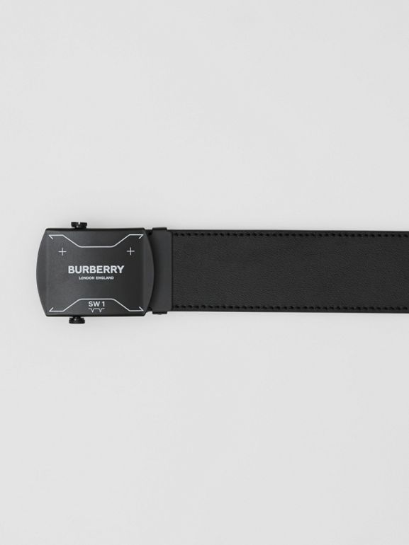 Symbol Print Plaque Buckle Leather Belt in Black - Men | Burberry - cell image 1