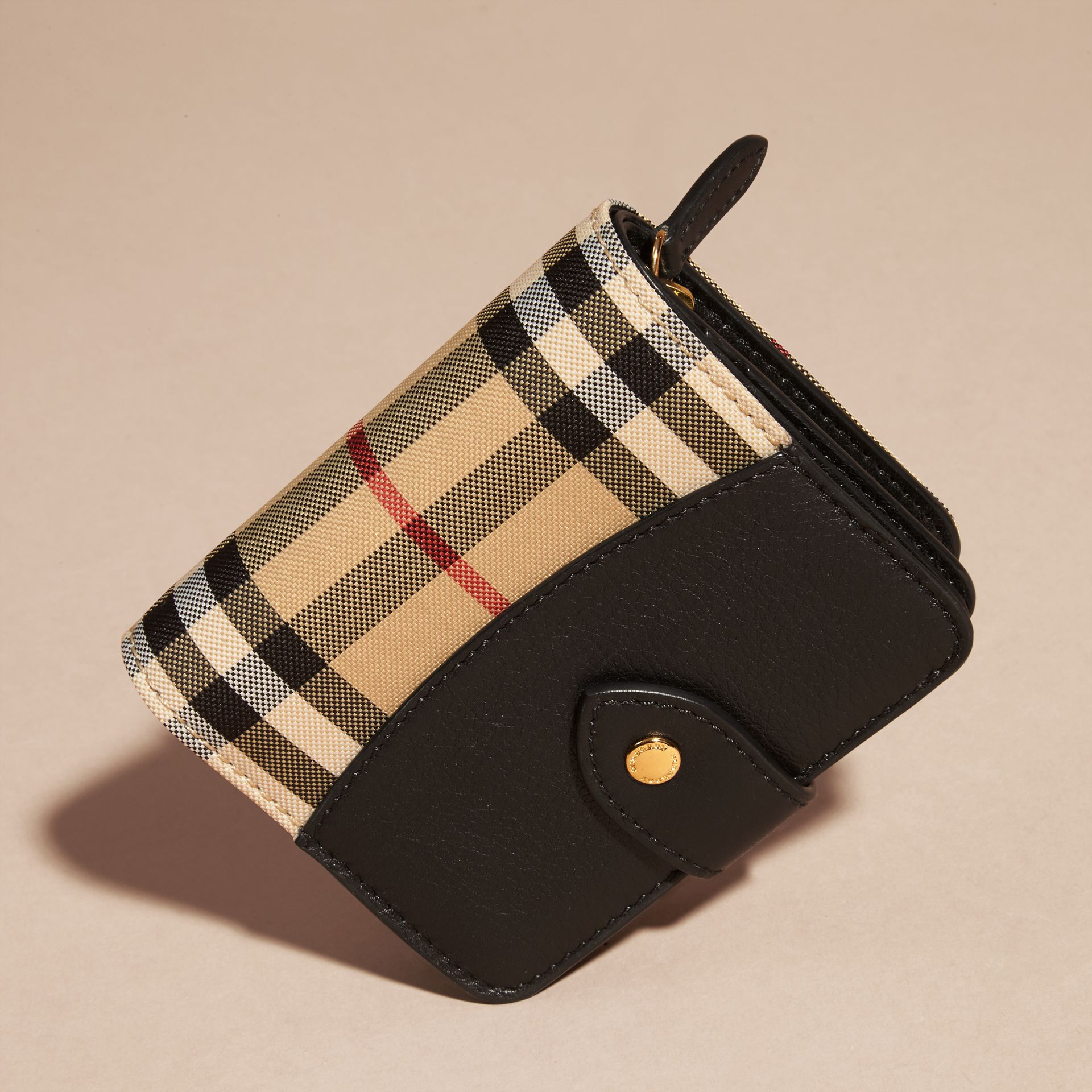 Black Horseferry Check and Leather Wallet Black - gallery image 3