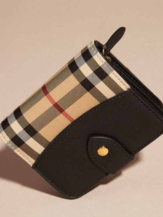 Black Horseferry Check and Leather Wallet Black - cell image 2