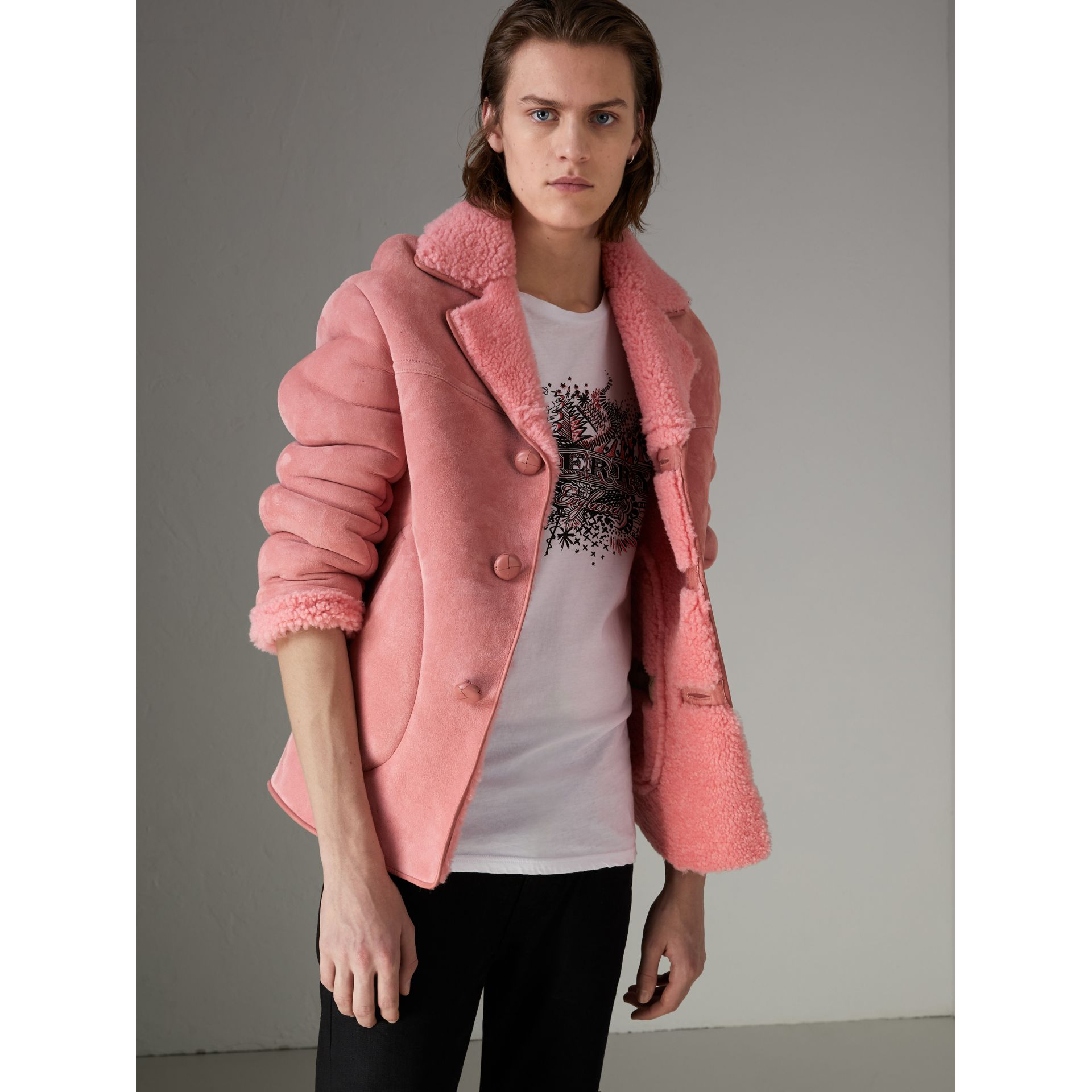 Leather Trim Shearling Jacket in Copper Pink - Men | Burberry Canada - gallery image 4