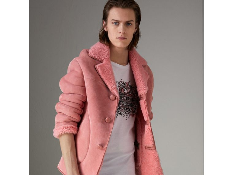 Leather Trim Shearling Jacket in Copper Pink - Men | Burberry - cell image 4