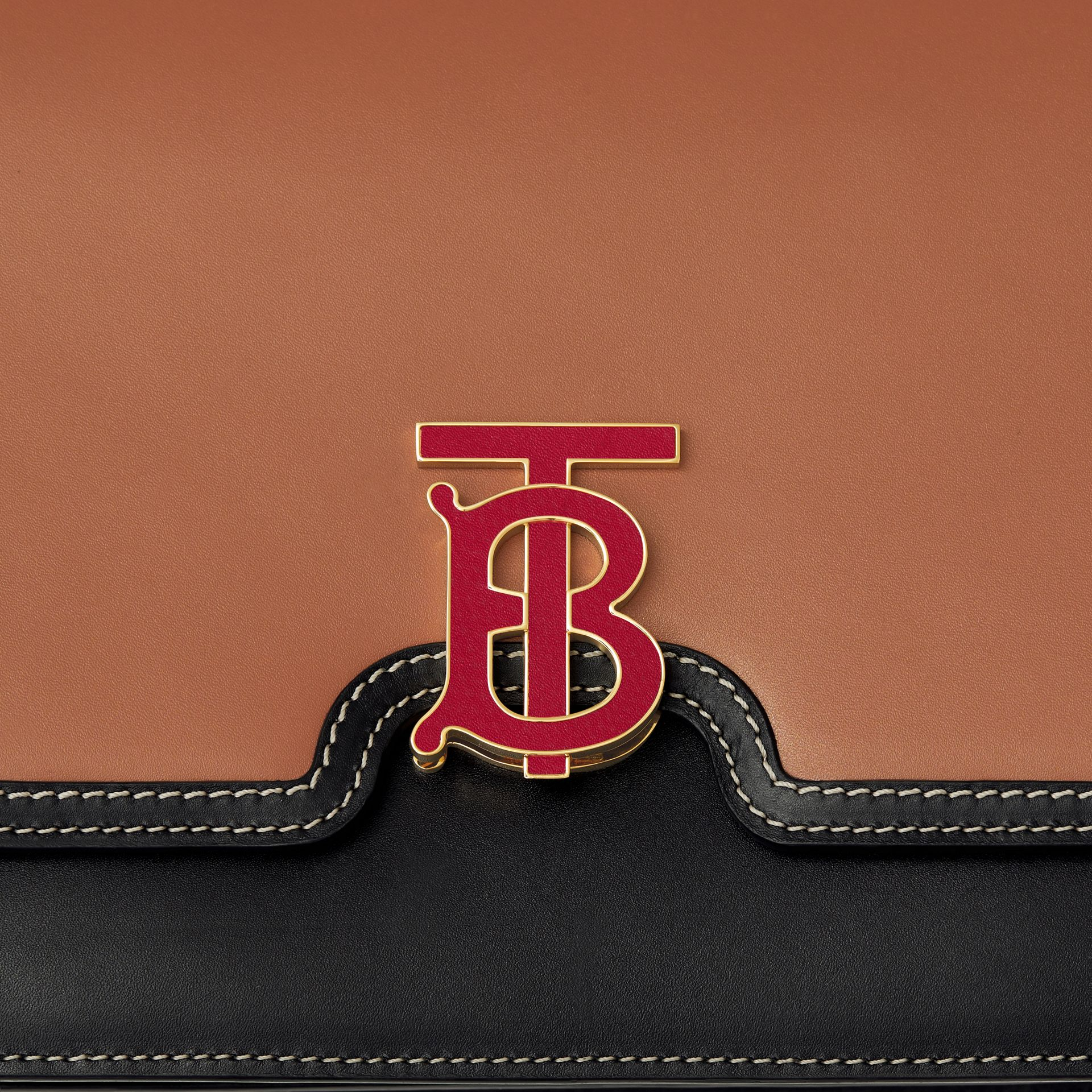 Medium Two-tone Leather TB Bag in Malt Brown/black - Women | Burberry Australia - gallery image 1