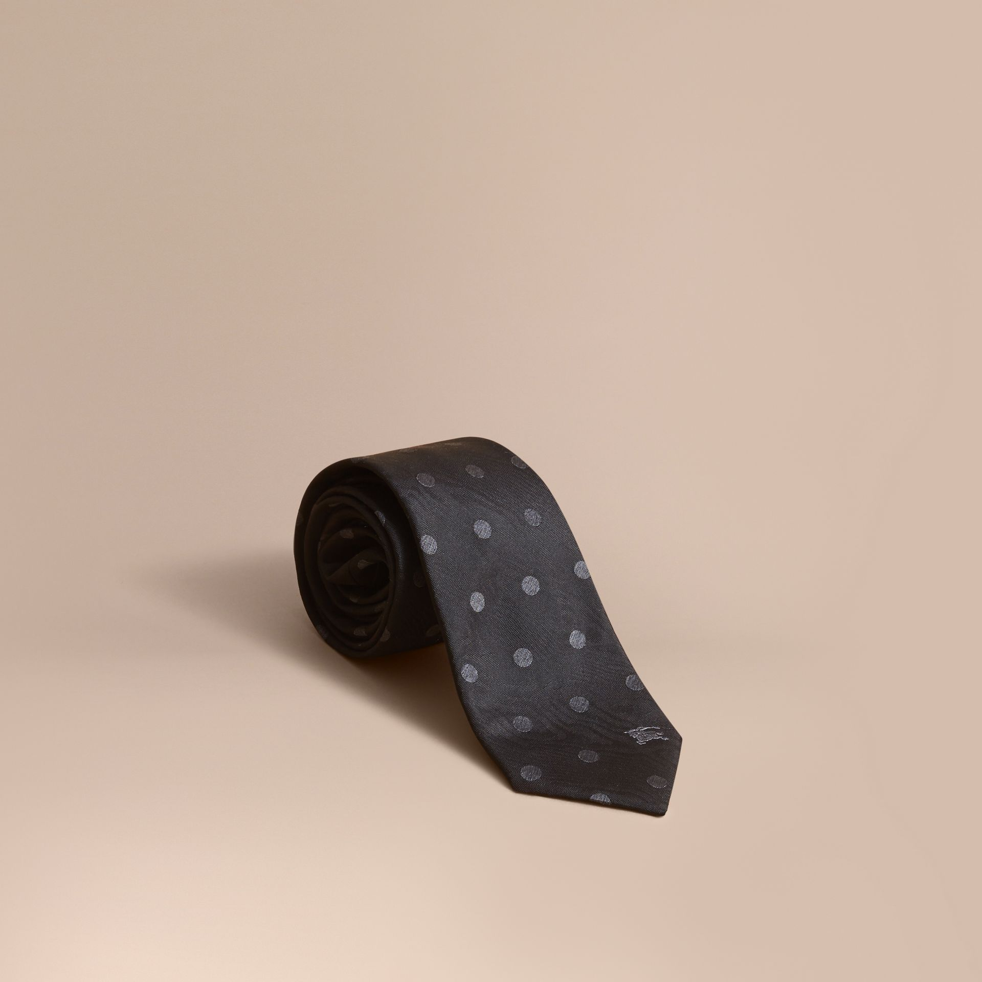 Modern Cut Polka Dot Silk Tie in Black - gallery image 1