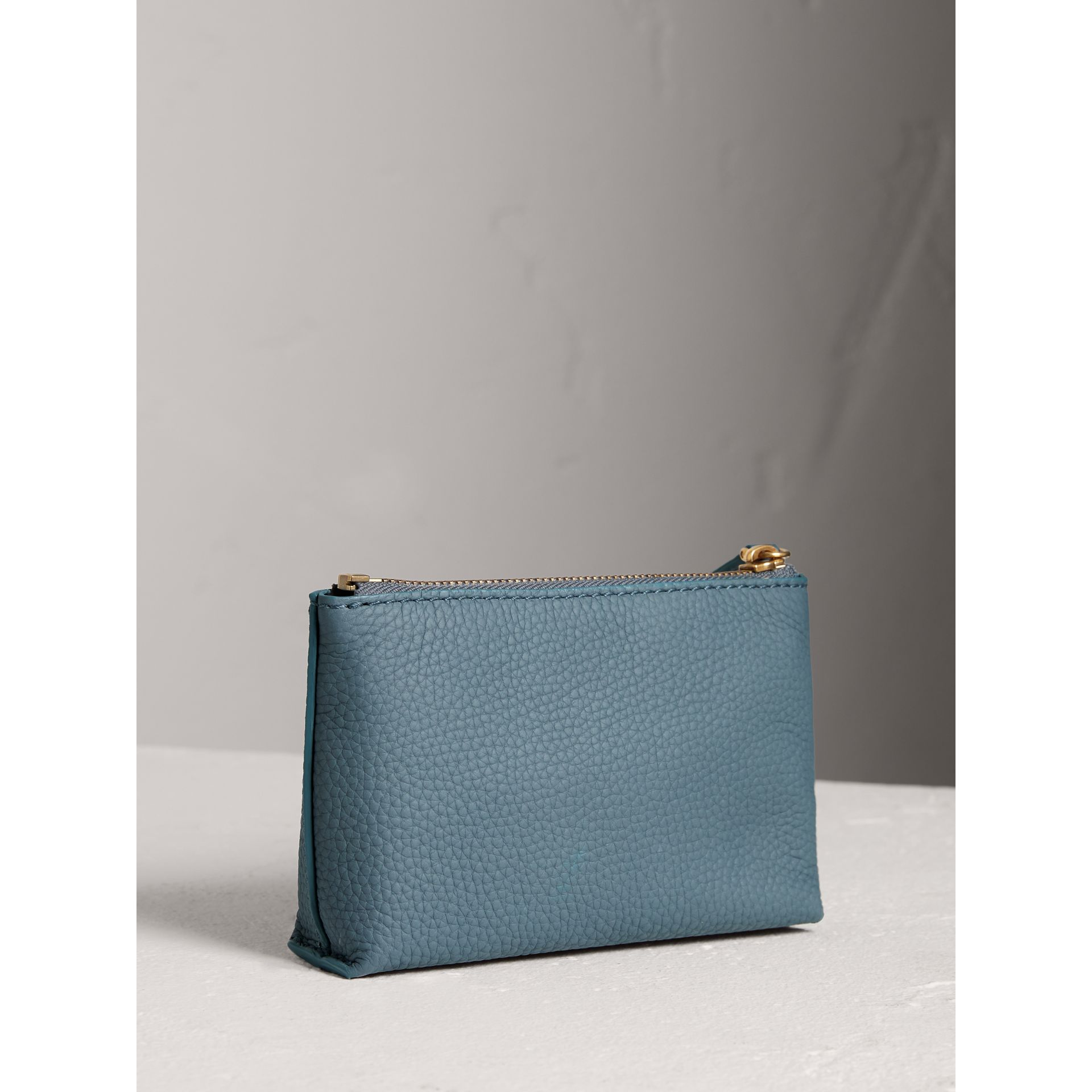 Small Embossed Leather Zip Pouch in Dusty Teal Blue | Burberry - gallery image 3