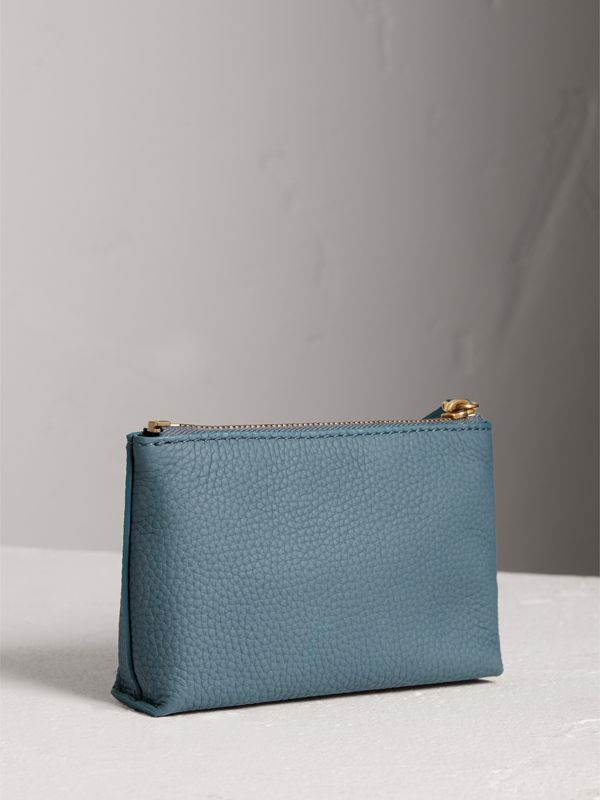 Small Embossed Leather Zip Pouch in Dusty Teal Blue | Burberry - cell image 2