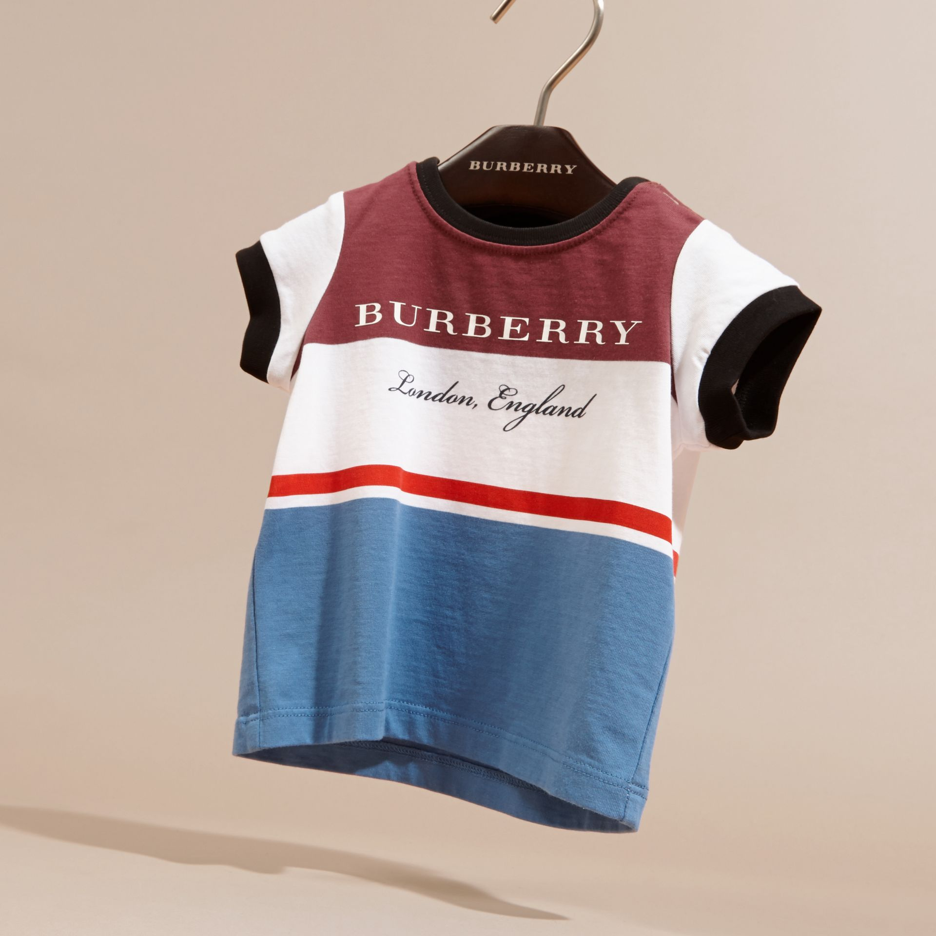 Claret Multi Stripe Cotton T-shirt Claret - gallery image 3