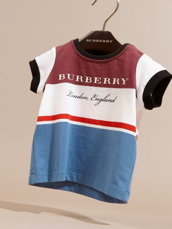 Multi Stripe Cotton T-shirt Claret - cell image 2