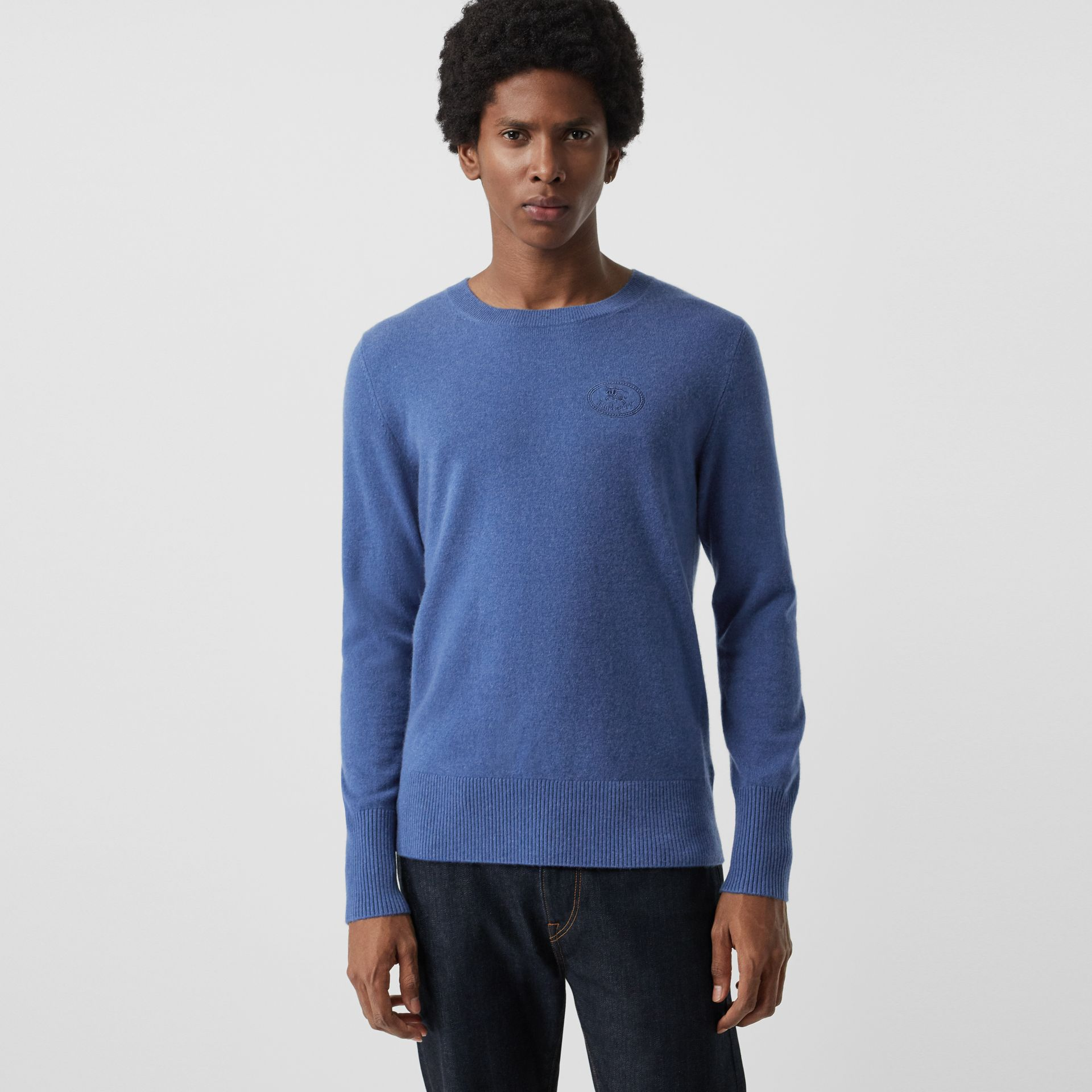 Embroidered Logo Cashmere Sweater in Dusty Blue - Men | Burberry United Kingdom - gallery image 0