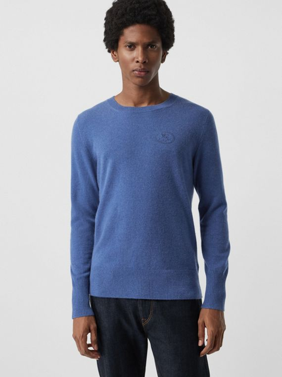 Embroidered Logo Cashmere Sweater in Dusty Blue