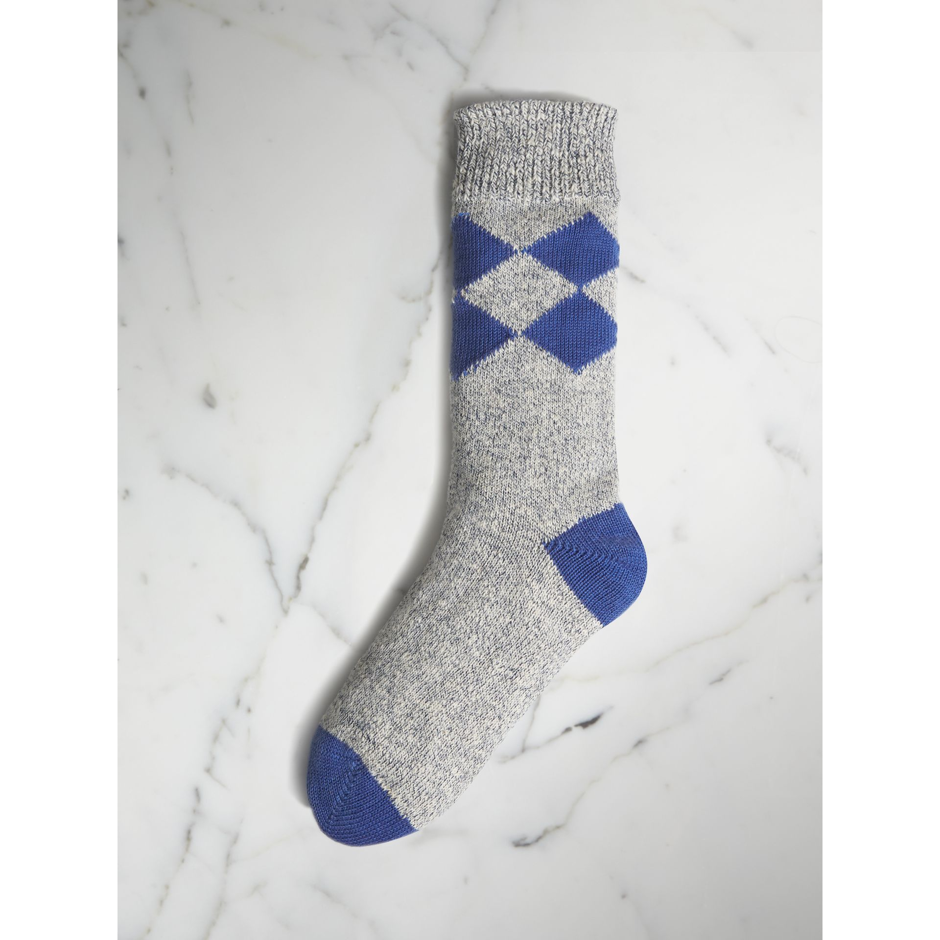Diamond Knit Cotton Mouliné Socks in Cobalt Blue | Burberry - gallery image 0