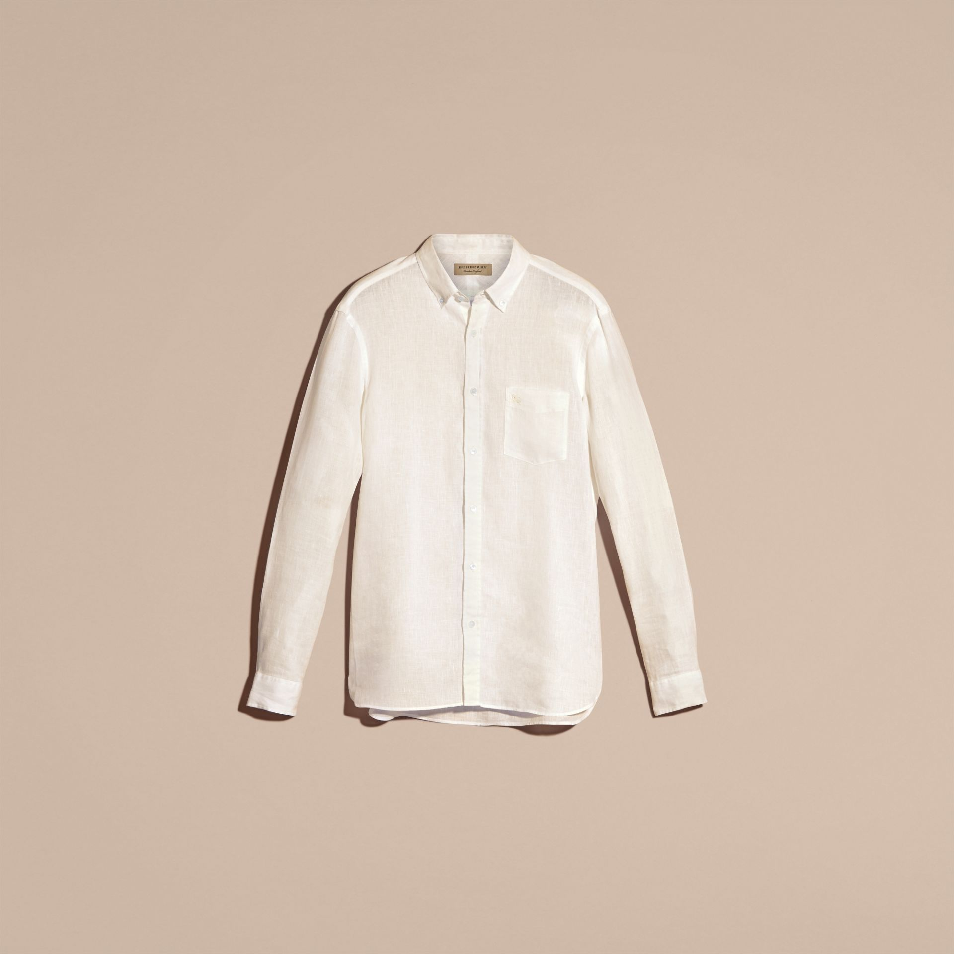 White Button-down Collar Linen Shirt White - gallery image 4