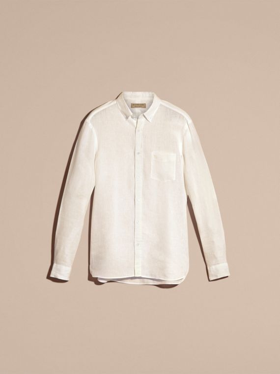 White Button-down Collar Linen Shirt White - cell image 3