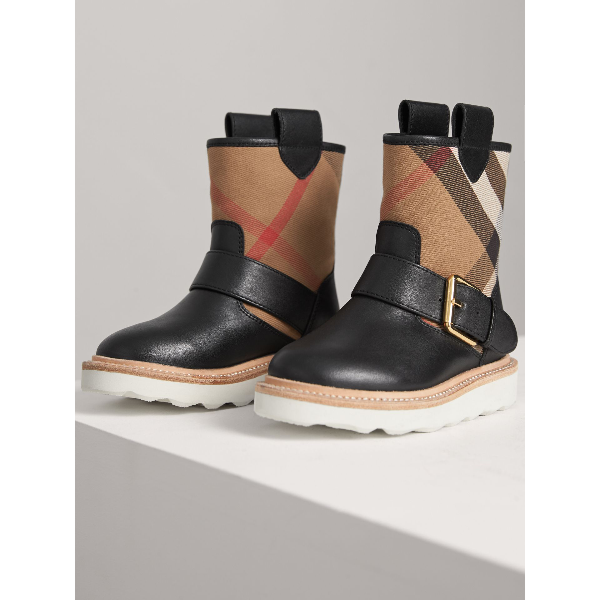 House Check and Leather Weather Boots in Classic | Burberry Singapore - gallery image 3