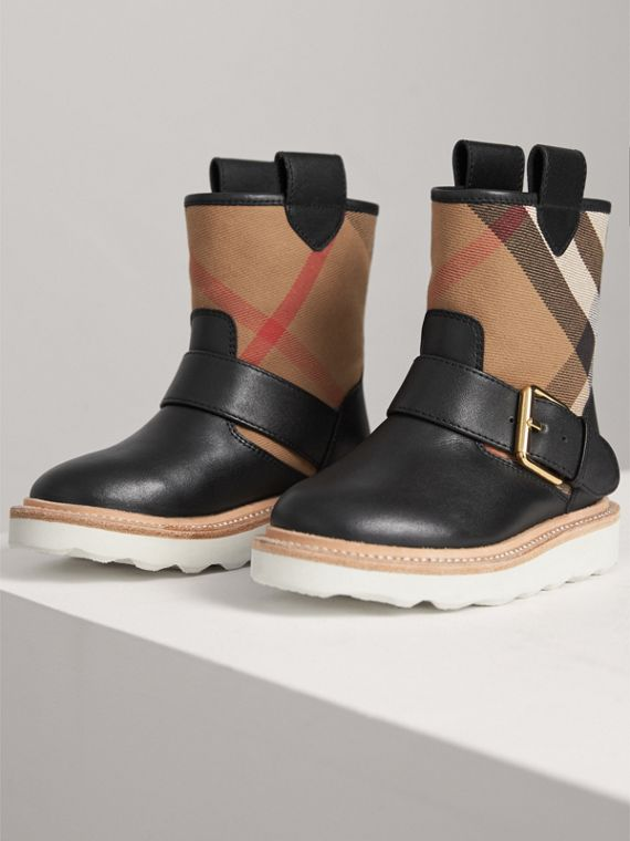 House Check and Leather Weather Boots in Classic | Burberry Australia - cell image 3