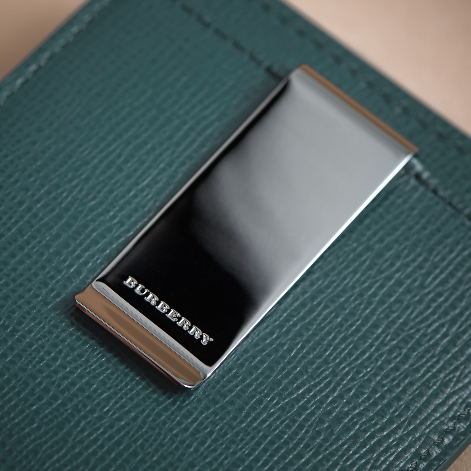 London Leather Money Clip Card Case in Dark Teal - Men | Burberry - gallery image 2