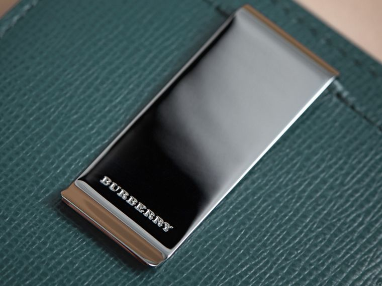 London Leather Money Clip Card Case in Dark Teal - Men | Burberry Canada - cell image 1