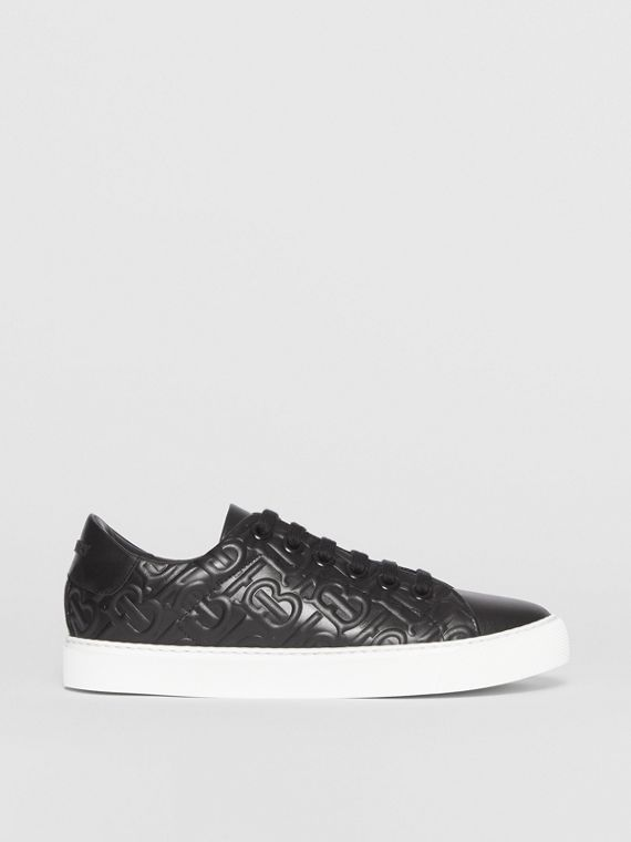 Monogram Leather Sneakers in Black