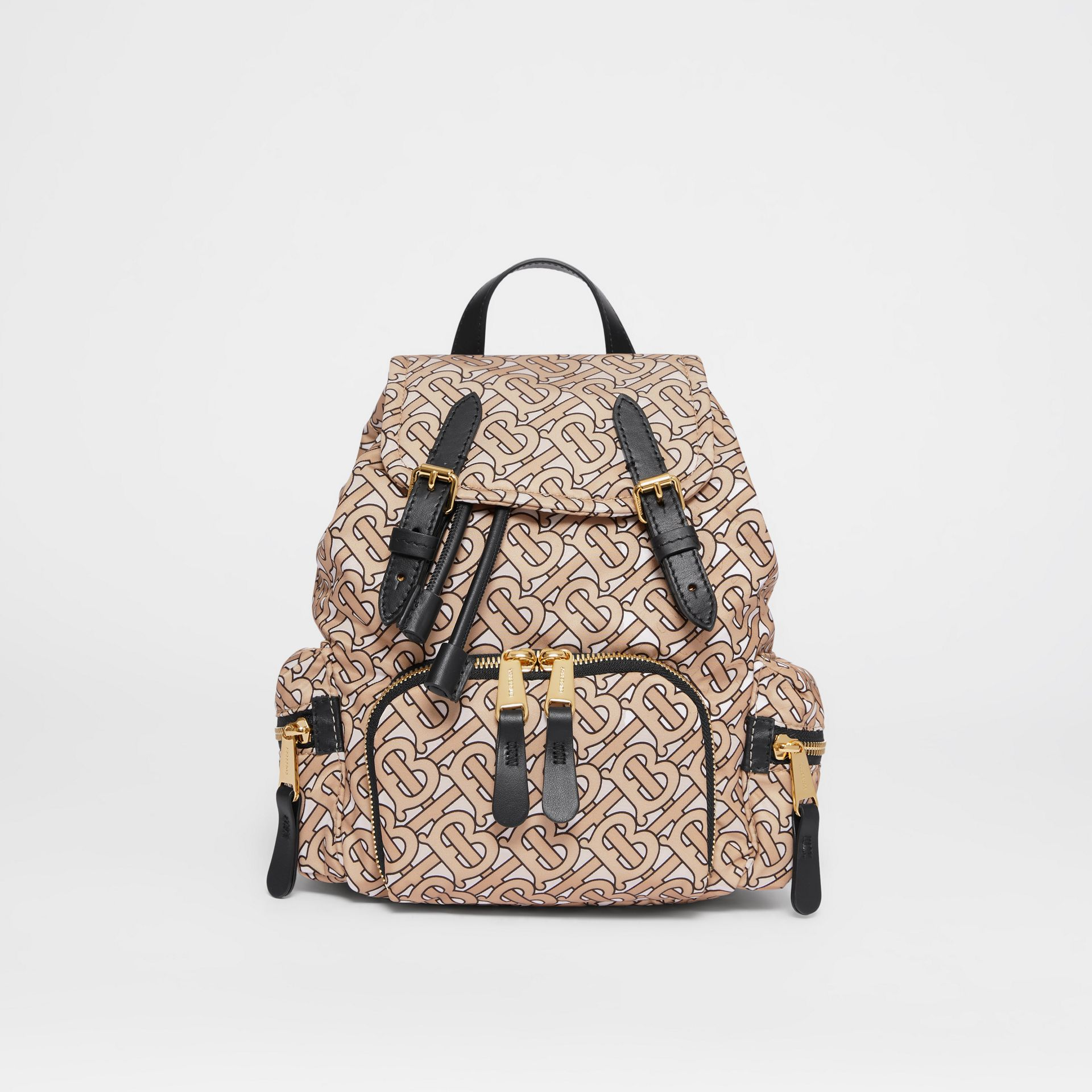 The Small Rucksack in Monogram Print Nylon in Beige - Women | Burberry Australia - gallery image 0