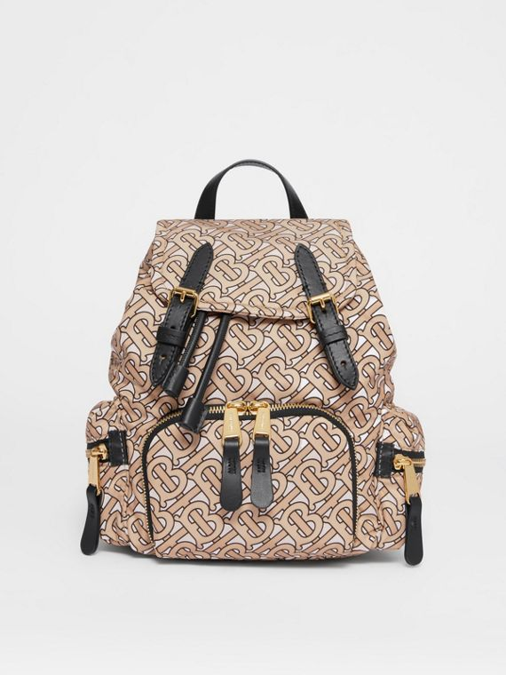 The Small Rucksack in Monogram Print Nylon in Beige