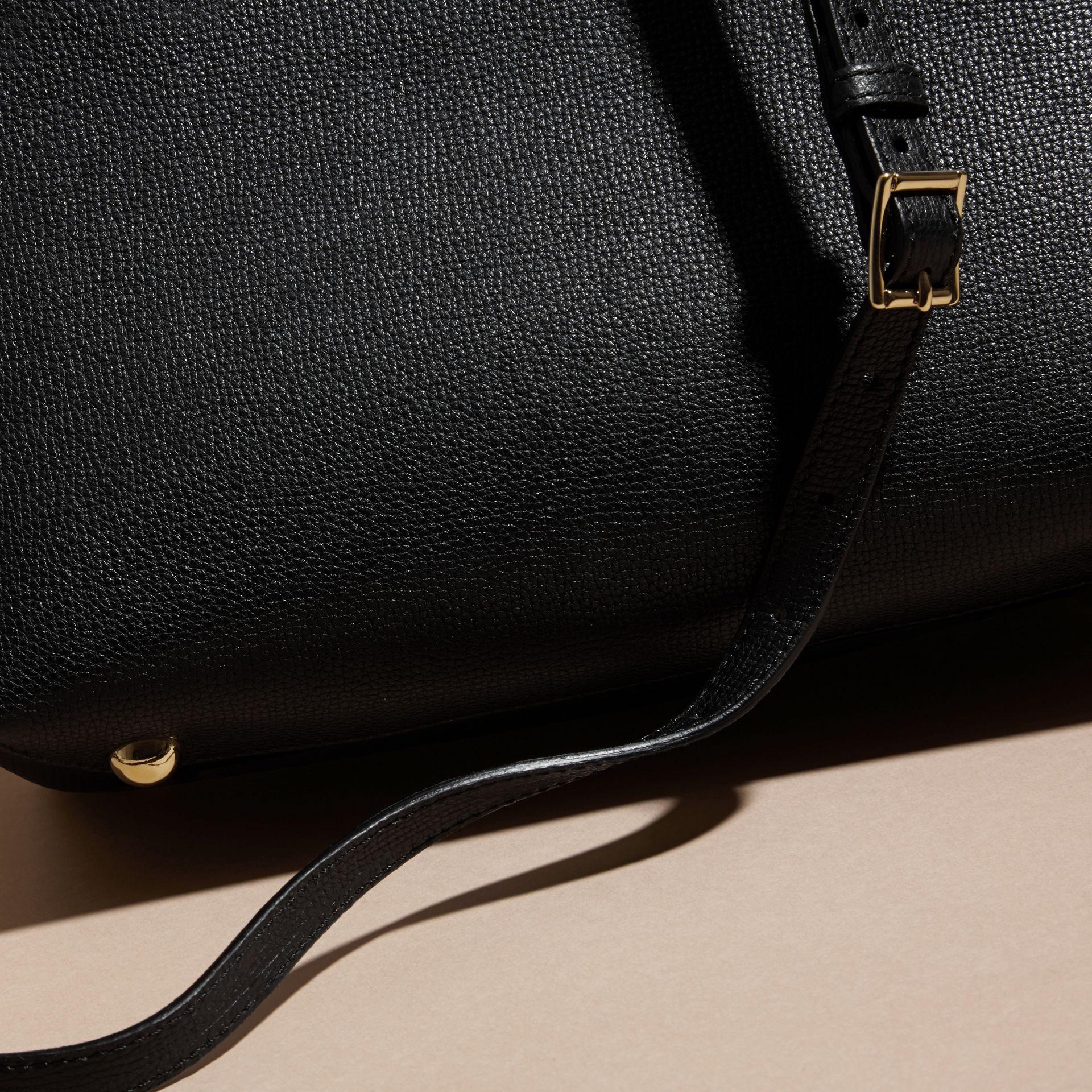 The Small Banner in Leather and House Check in Black - Women | Burberry - gallery image 6