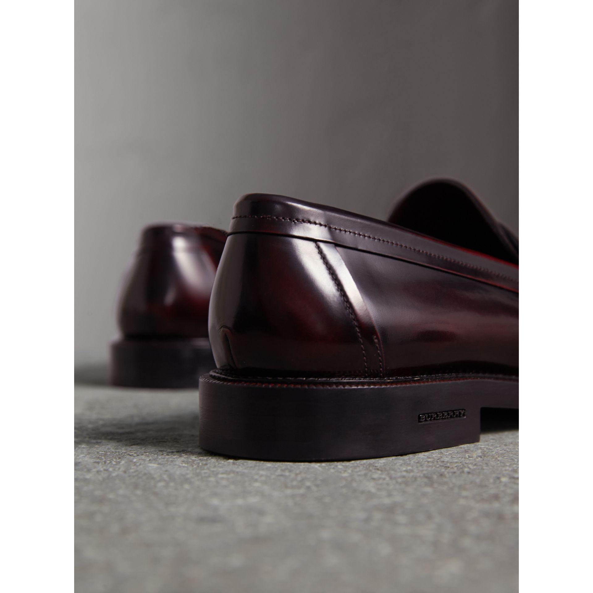 Leather Penny Loafers in Rust Red - Men | Burberry Canada - gallery image 4