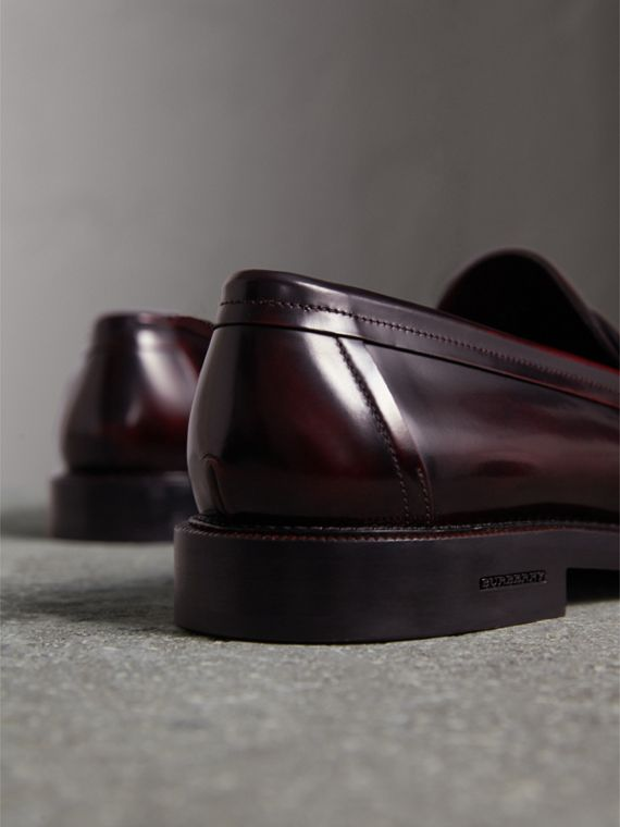 Leather Penny Loafers in Rust Red - Men | Burberry United Kingdom - cell image 3