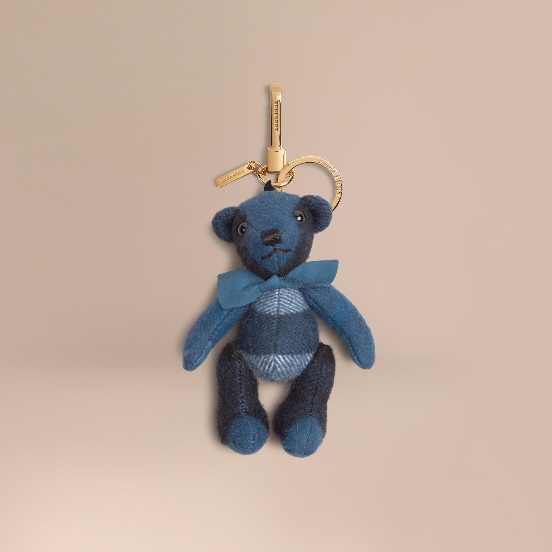 Marine blue Thomas Bear Charm in Check Cashmere Marine Blue - gallery image 1
