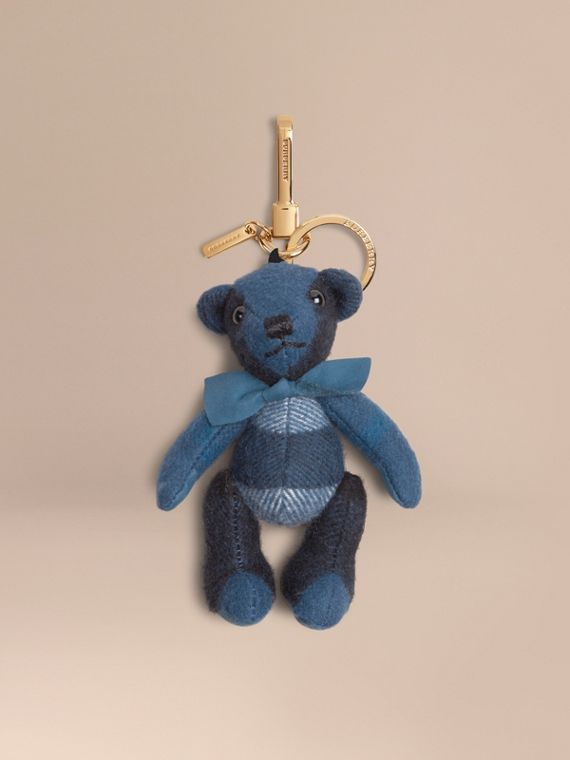 Thomas Bear Charm in Check Cashmere Marine Blue