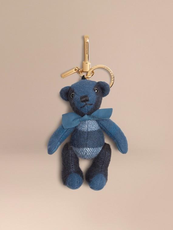 Bijou porte-clés Thomas Bear en cachemire à motif check Bleu Nautique