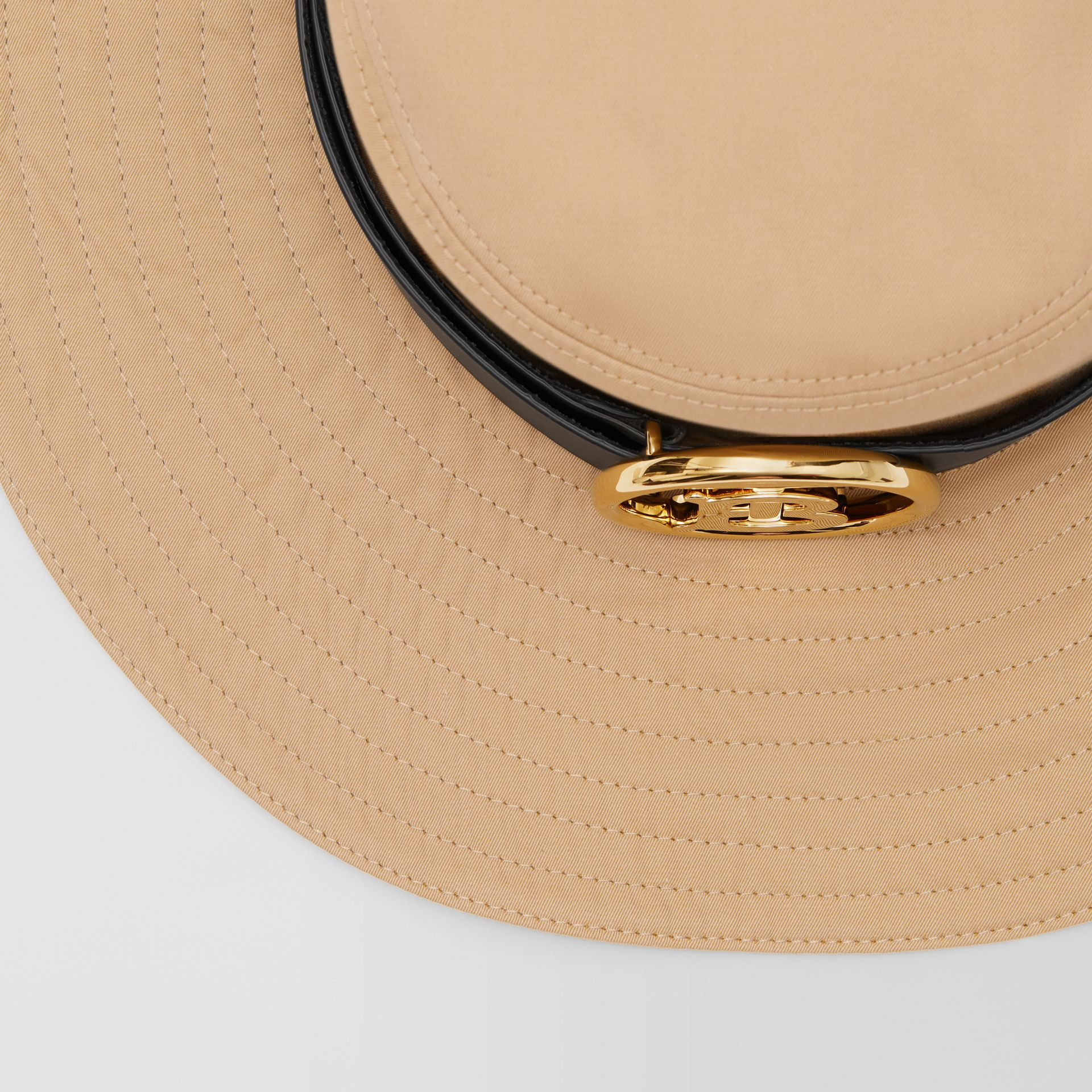 Monogram Motif Leather Belt Detail Cotton Desert Hat in Honey | Burberry Canada - gallery image 1