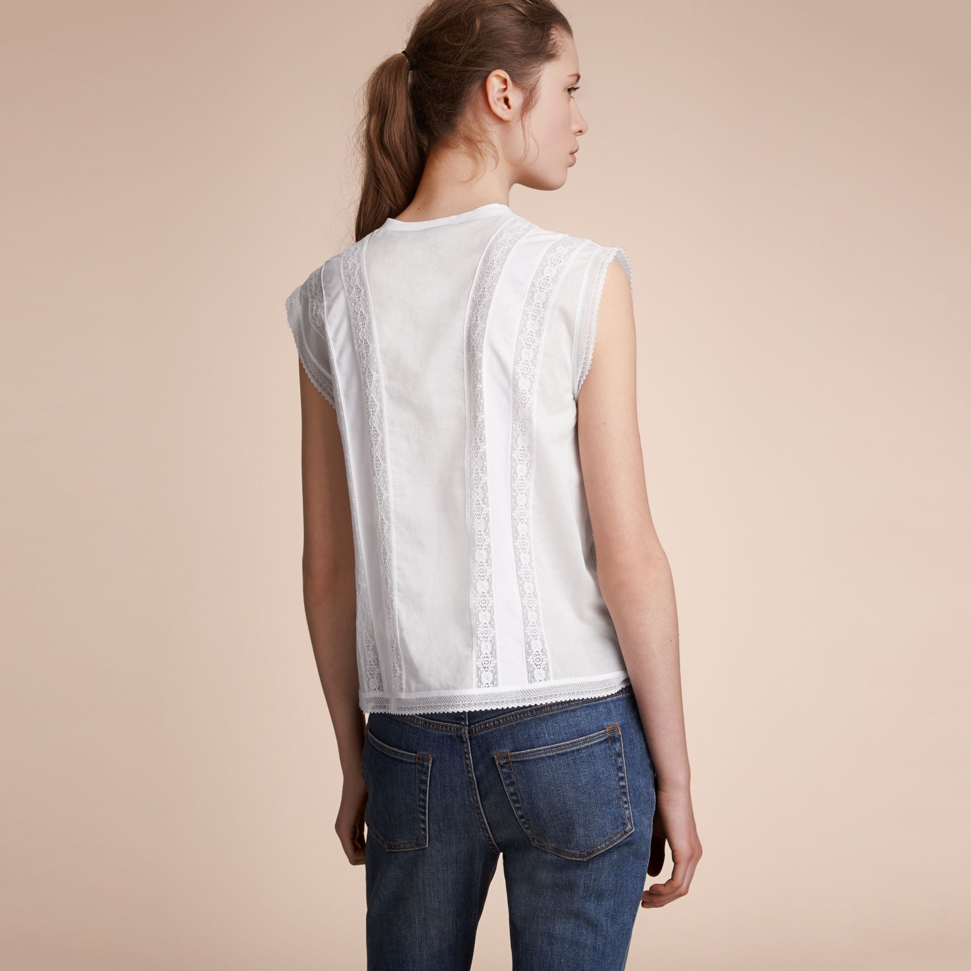 Sleeveless Lace and Pintuck Detail Cotton Top - Women | Burberry - gallery image 3