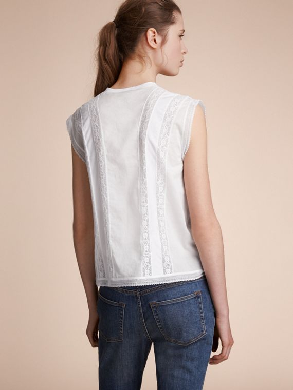 Sleeveless Lace and Pintuck Detail Cotton Top - Women | Burberry - cell image 2