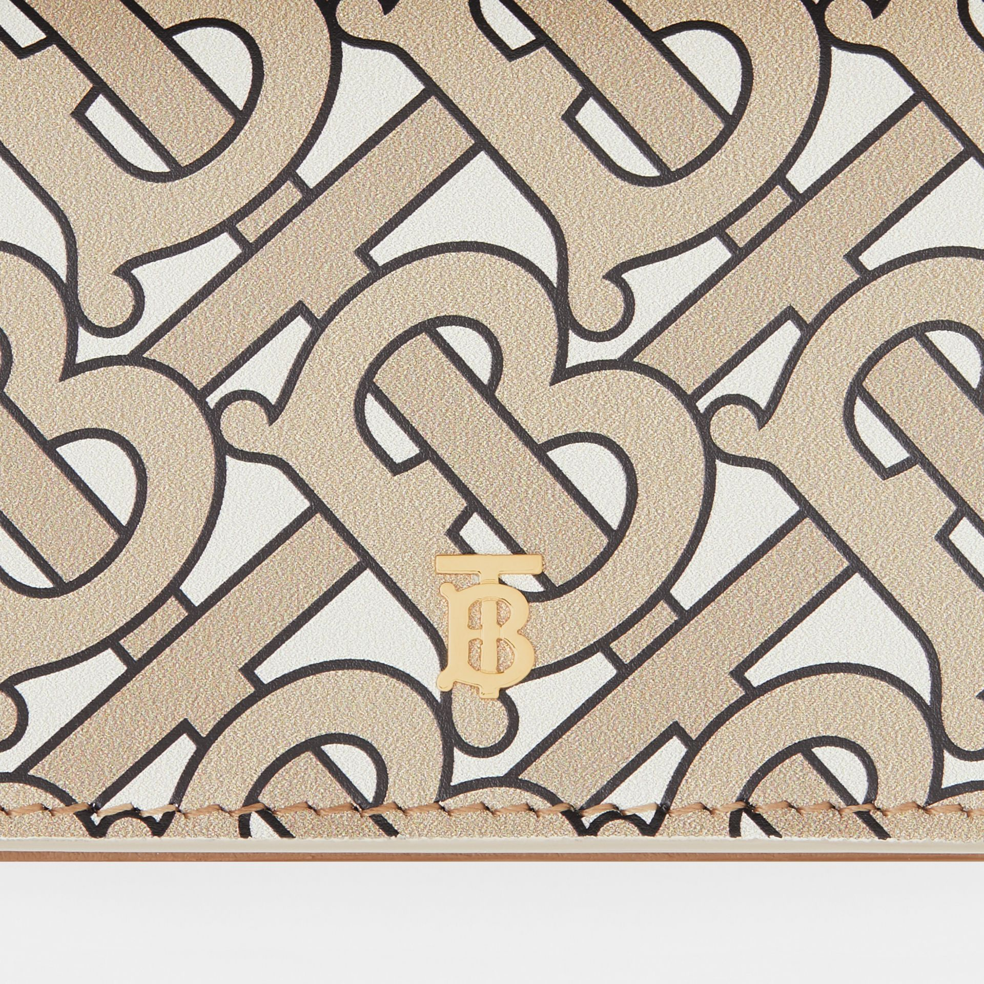 Monogram Print Card Case with Detachable Strap in Beige - Women | Burberry - gallery image 1