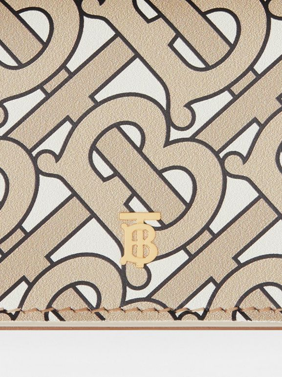 Monogram Print Card Case with Detachable Strap in Beige - Women | Burberry - cell image 1