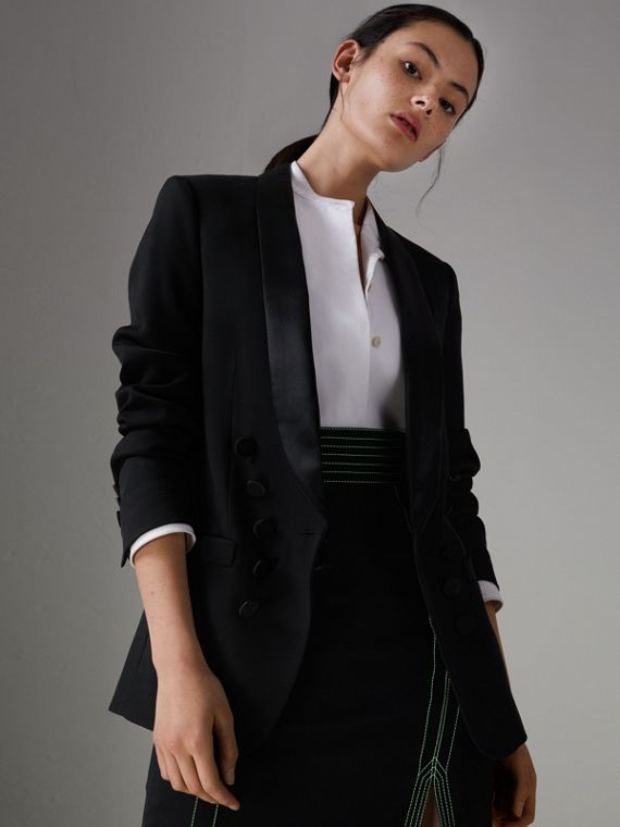 Silk Satin Detail Wool Tailored Jacket in Black