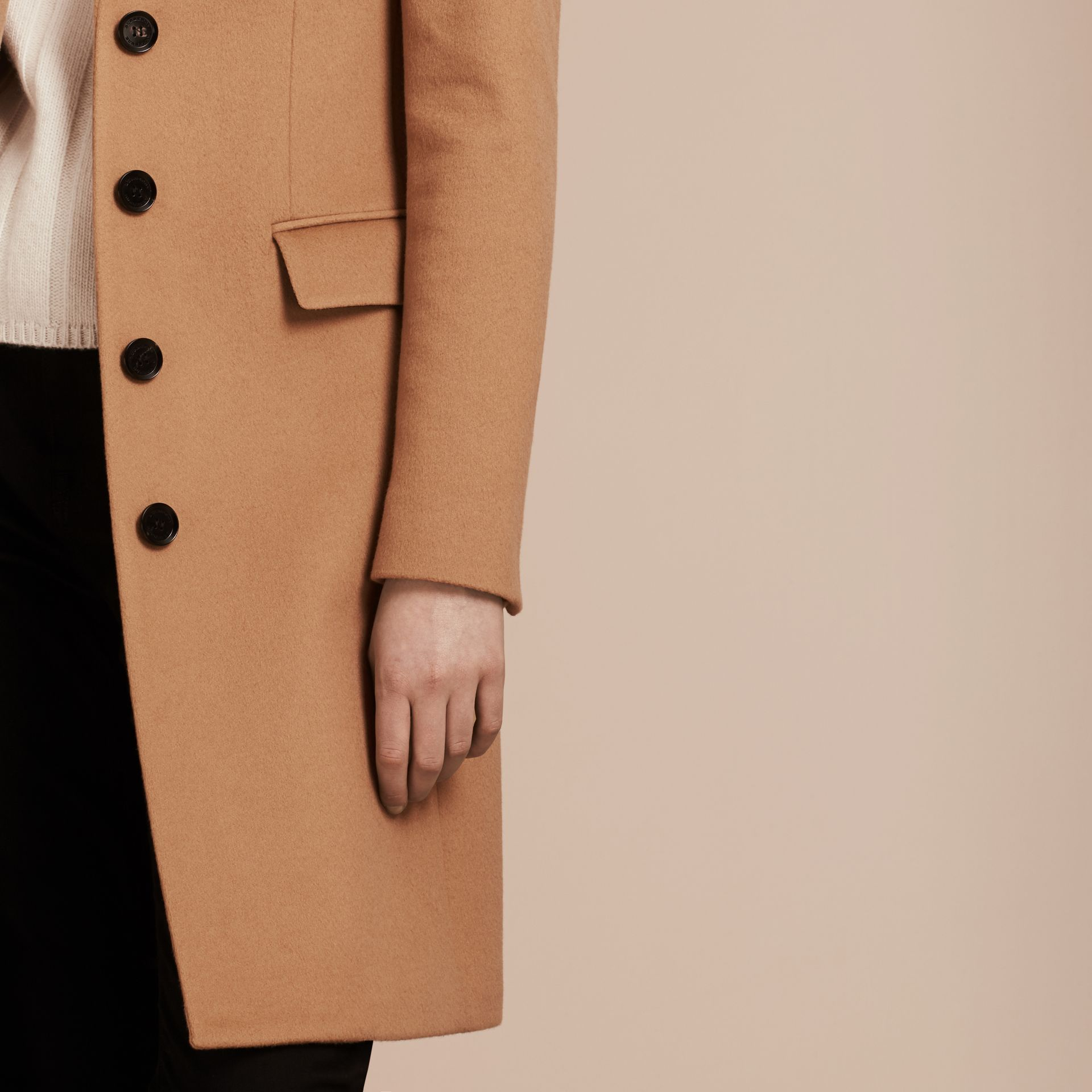 Wool Cashmere Tailored Coat in Camel - gallery image 6