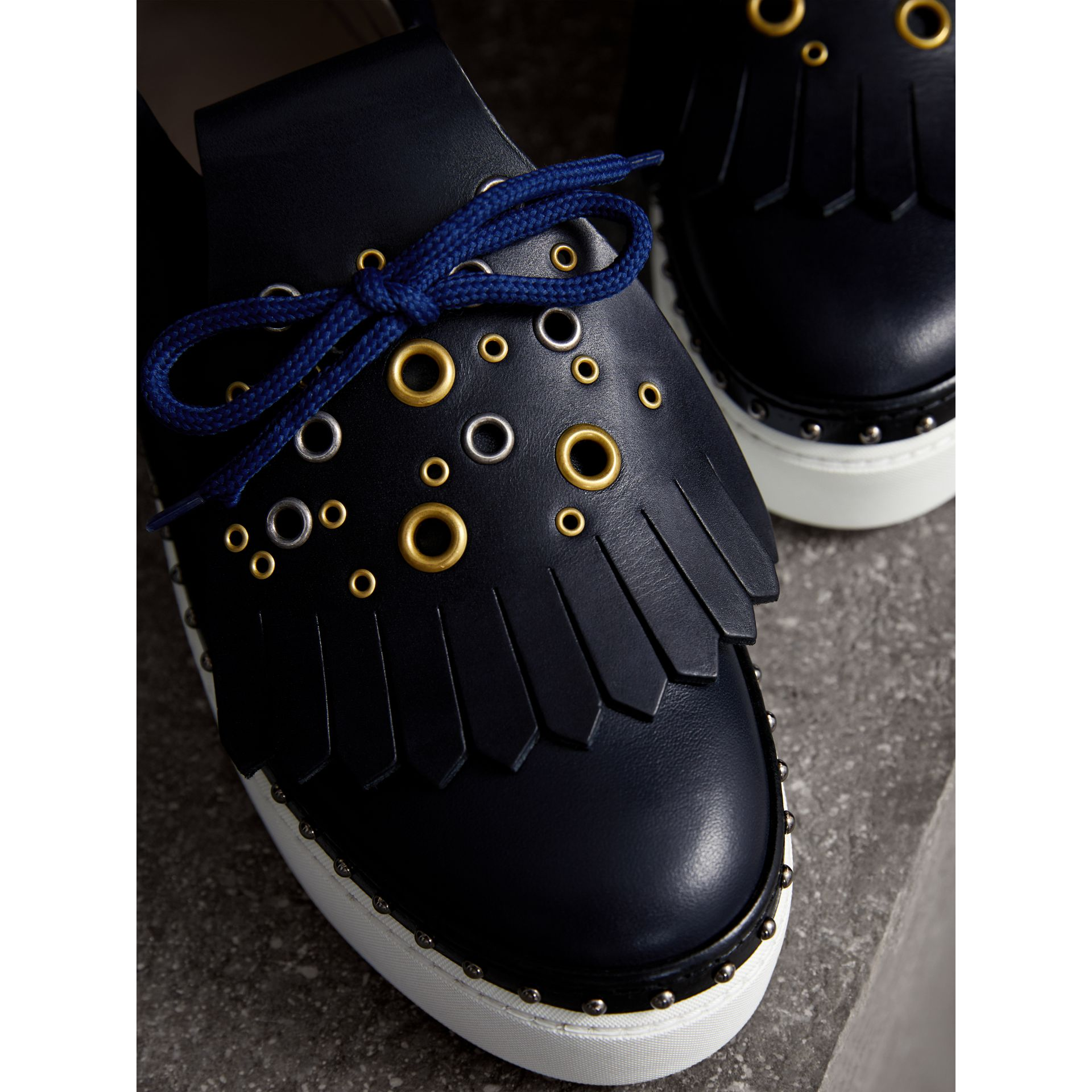 Kiltie Fringe Leather Trainers in Navy - Women | Burberry - gallery image 2