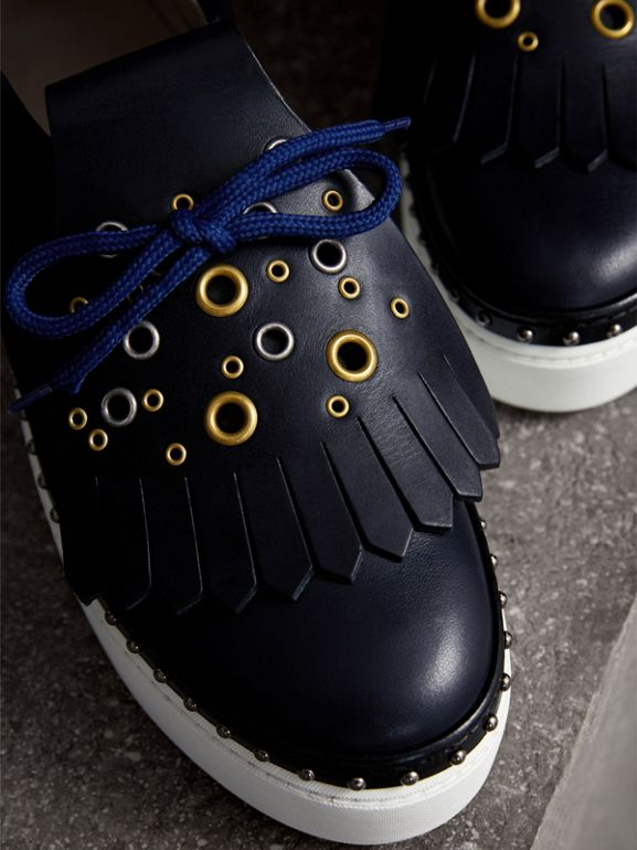 Kiltie Fringe Leather Sneakers in Navy - Women | Burberry - cell image 1