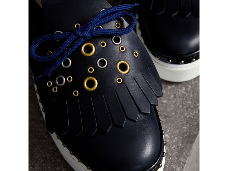Kiltie Fringe Leather Sneakers in Navy - Women | Burberry Singapore - cell image 1