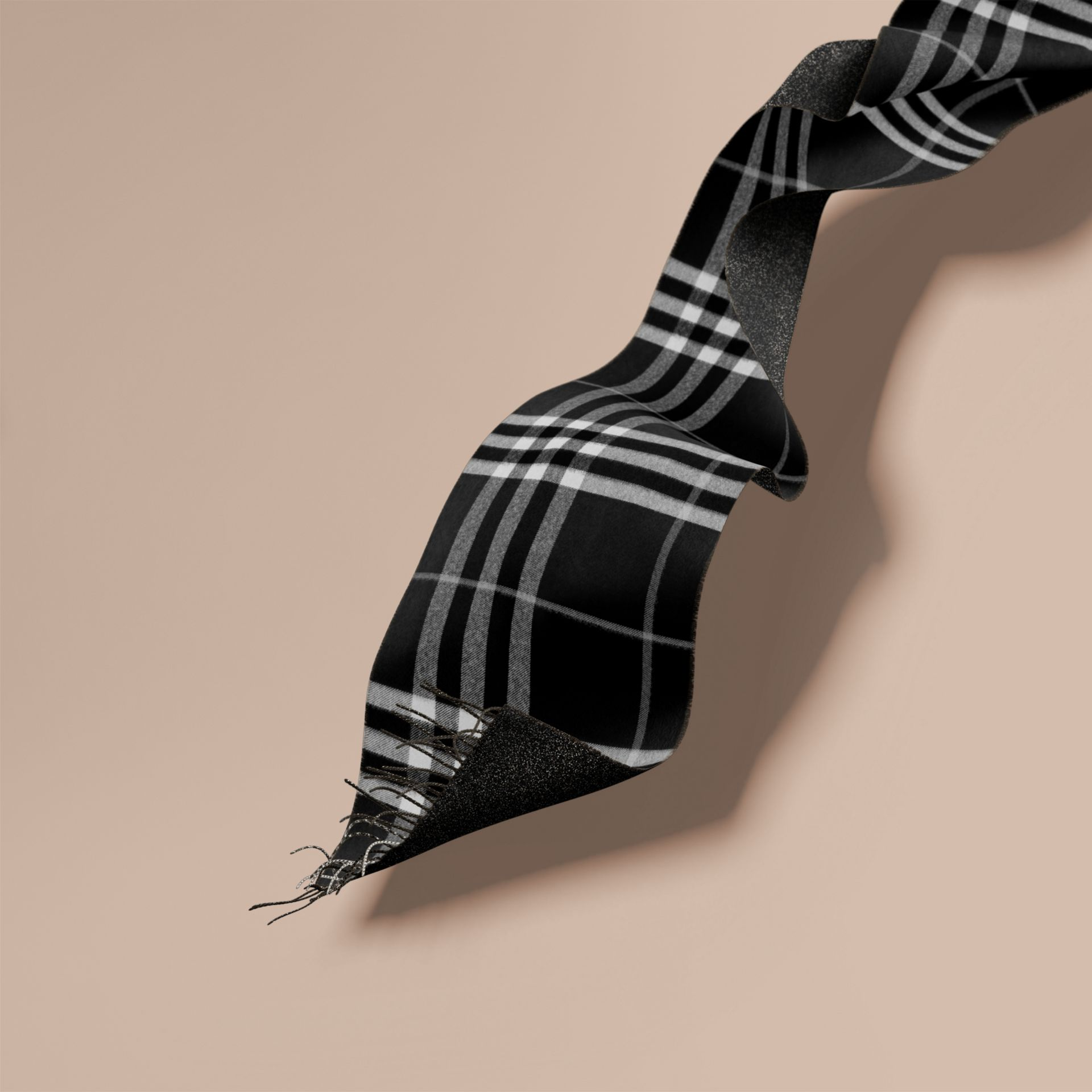 Reversible Metallic Check Cashmere Scarf Black - gallery image 1