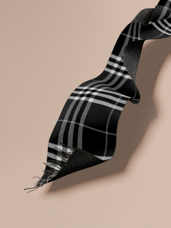 Reversible Metallic Check Cashmere Scarf Black