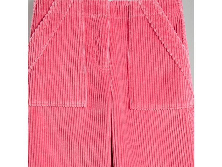 Corduroy Wide-leg Trousers in Bright Rose - Girl | Burberry Singapore - cell image 4