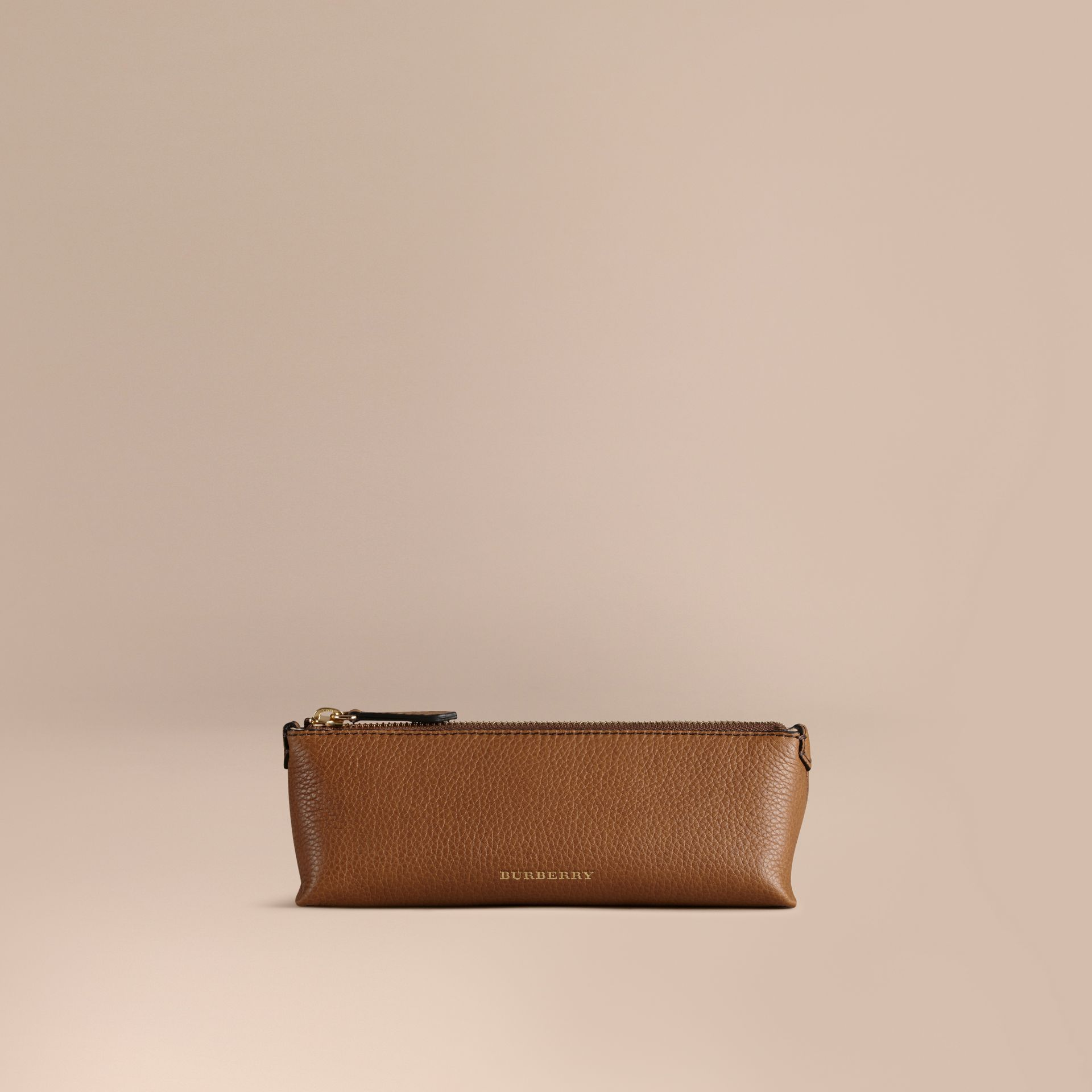 Tan Small Grainy Leather Digital Accessory Pouch Tan - gallery image 1