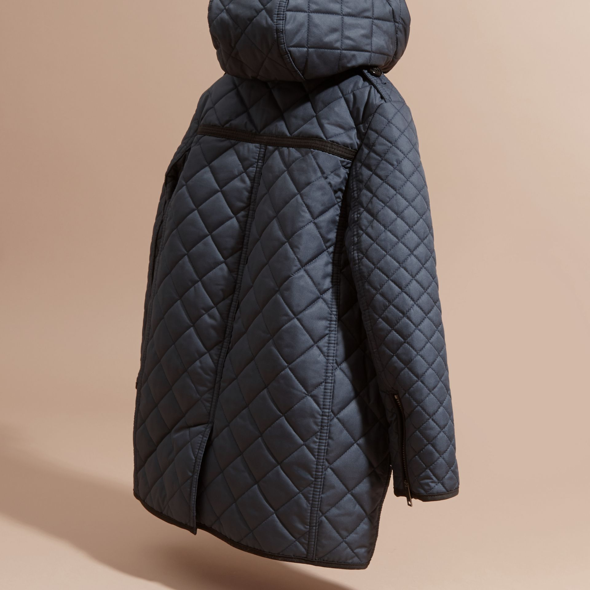 Diamond-quilted Coat with Detachable Hood in Ink Blue - Girl | Burberry - gallery image 4