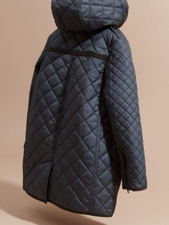 Diamond-quilted Coat with Detachable Hood in Ink Blue - Girl | Burberry - cell image 3