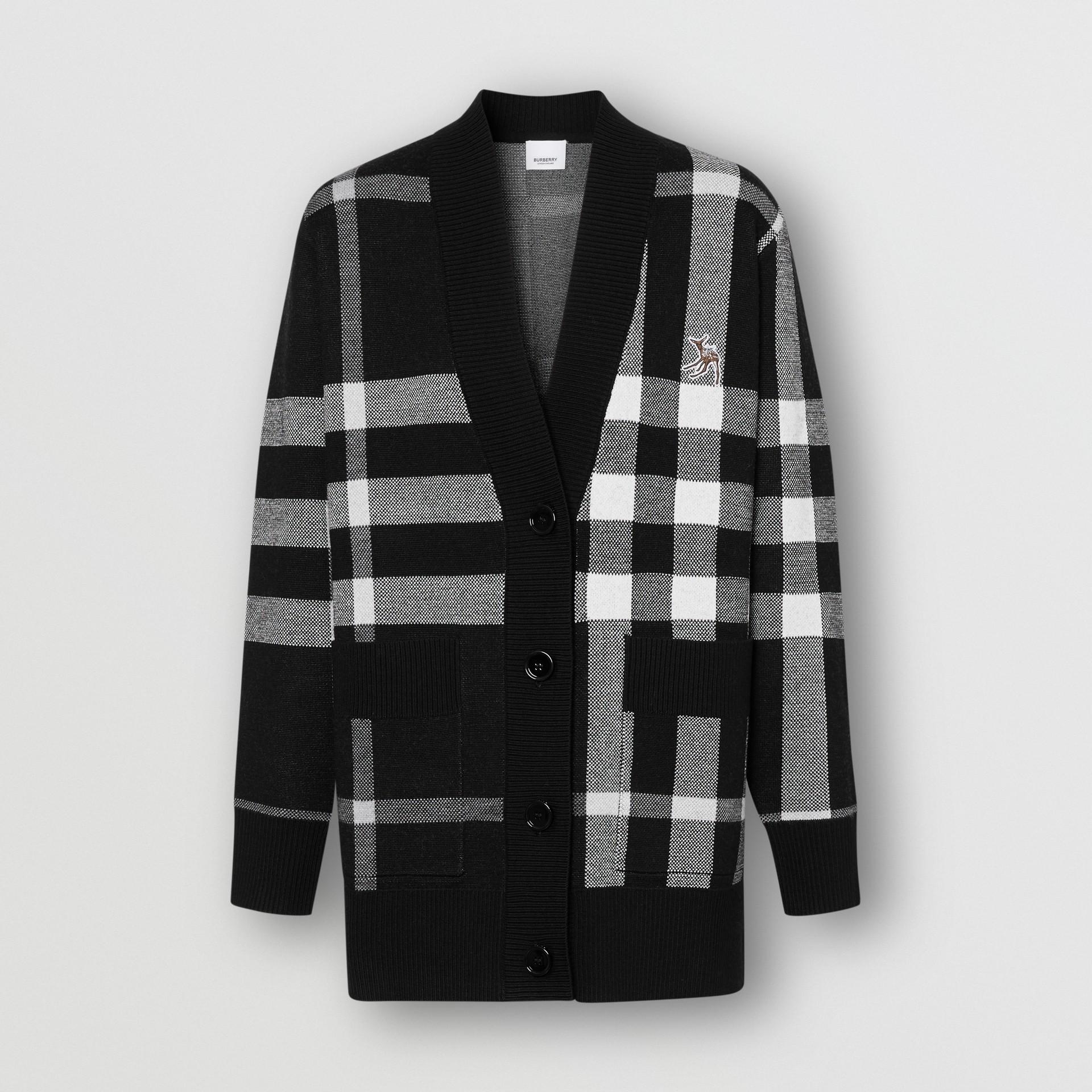 Deer Motif Check Wool Blend Jacquard Cardigan in Black - Women | Burberry - gallery image 1