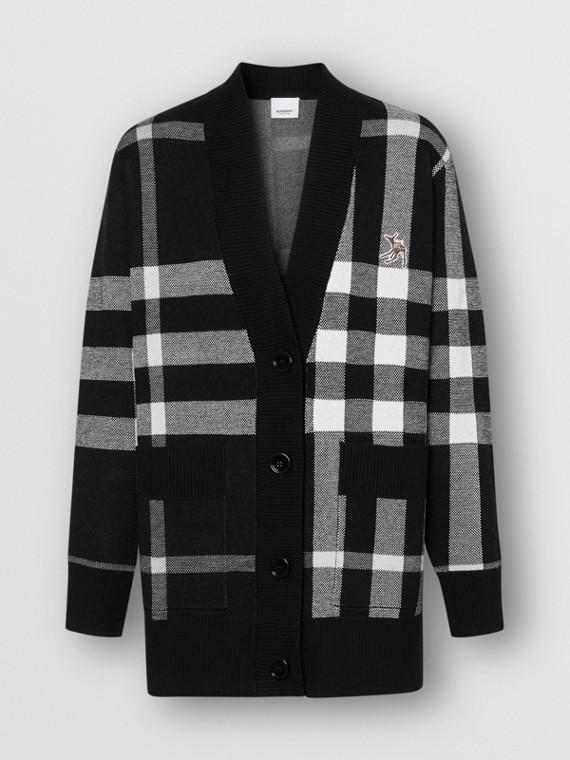 Deer Motif Check Wool Blend Jacquard Cardigan in Black