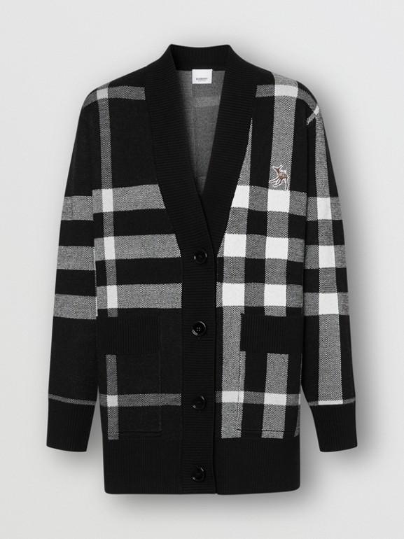 Deer Motif Check Wool Blend Jacquard Cardigan in Black - Women | Burberry - cell image 1