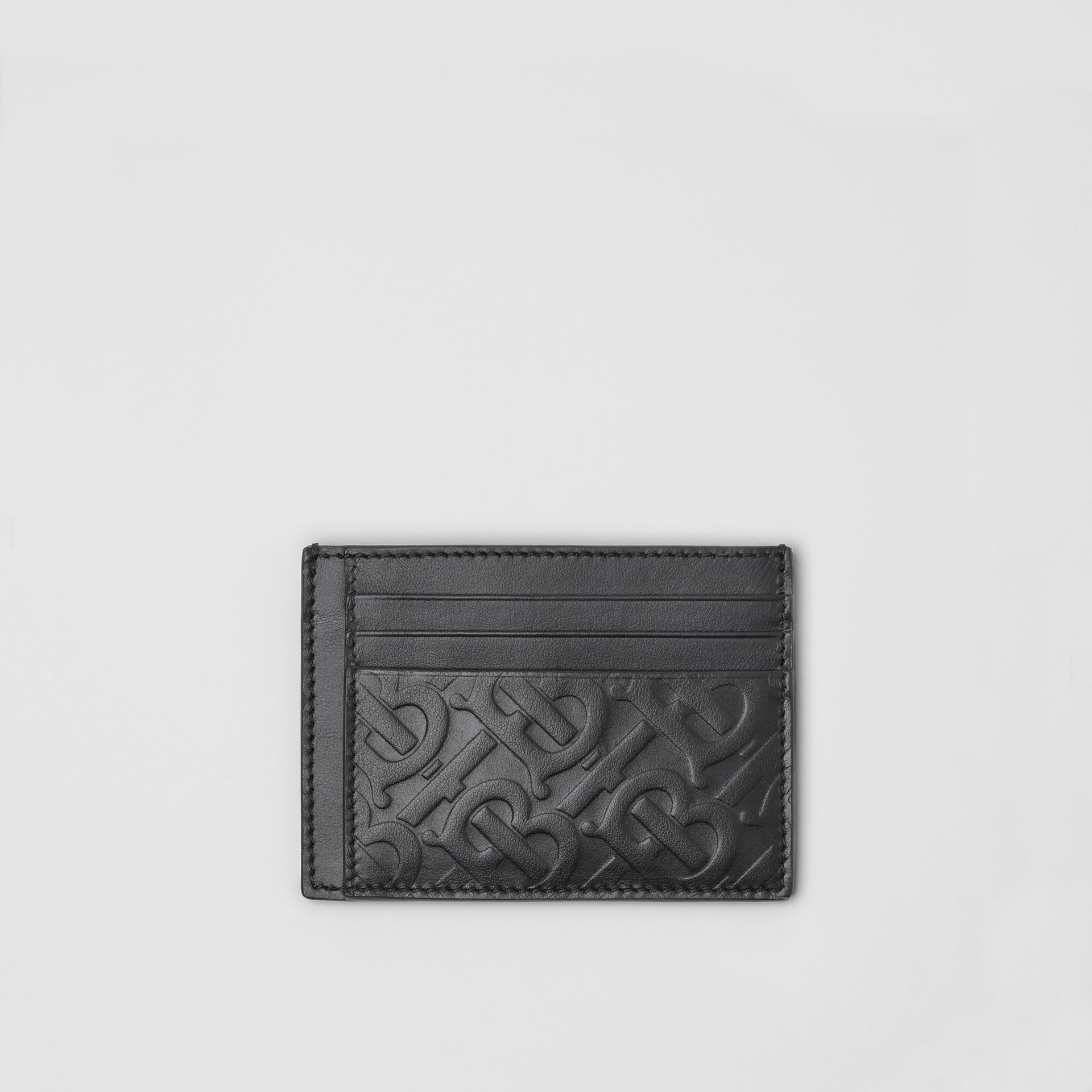 Monogram Leather Card Case in Black - Men | Burberry Australia - gallery image 0